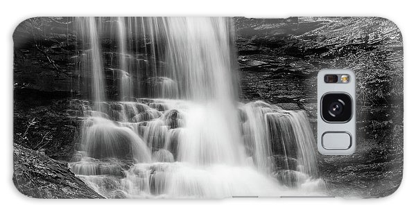 Black And White Photo Of Sheldon Reynolds Waterfalls Galaxy Case