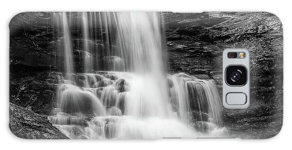 Black And White Photo Of Sheldon Reynolds Waterfalls Galaxy Case