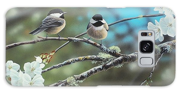 Black Capped Chickadees Galaxy Case