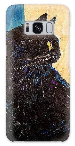 Black Cat In Sunlight Galaxy Case