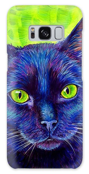 Black Cat With Chartreuse Eyes Galaxy Case