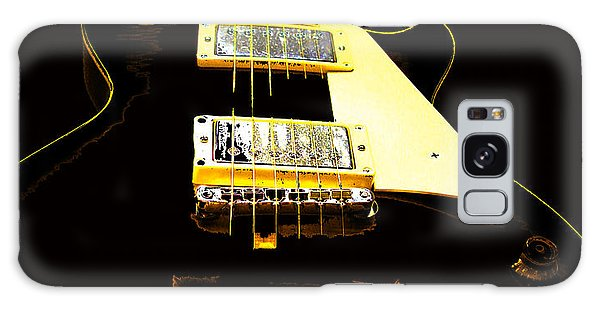 Galaxy Case featuring the photograph Black Guitar With Gold Accents by Guitar Wacky