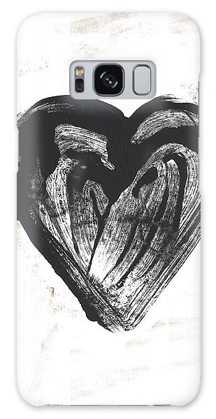 Galaxy Case featuring the mixed media Black Heart- Art By Linda Woods by Linda Woods