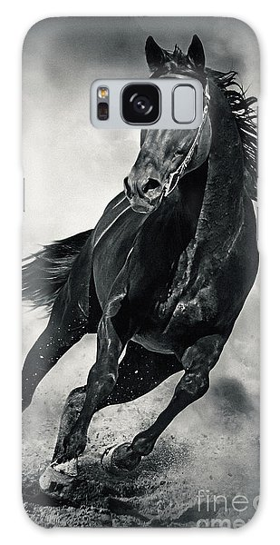 Galaxy Case featuring the photograph Black Horse Running Wild Black And White by Dimitar Hristov