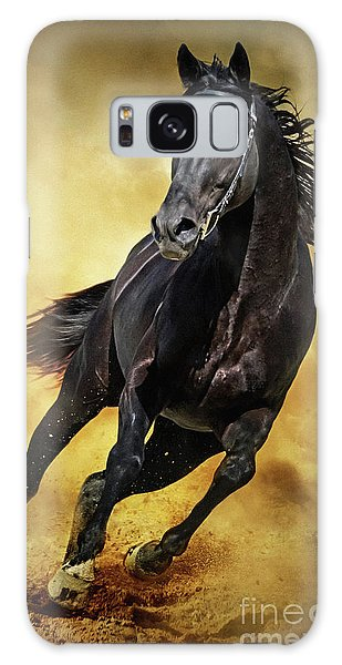 Galaxy Case featuring the photograph Black Horse Running Wild by Dimitar Hristov