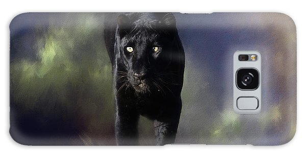 Black Leopard In The Grass Galaxy Case