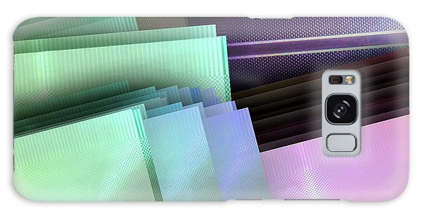 Fashion Plate Galaxy Case - Blank Reflective Aluminum Plates. Blue, Pink And Purple. Fashion Abstract Background. by Rudy Bagozzi