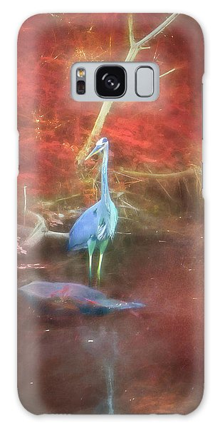 Blue Heron Red Background Galaxy Case