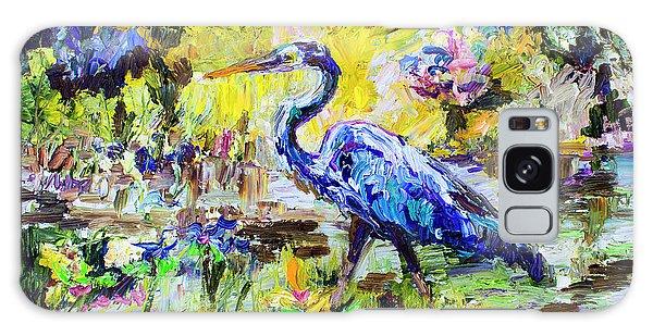 Blue Heron Wetland Magic Palette Knife Oil Painting Galaxy Case