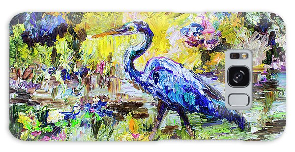 Blue Heron Wetland Magic Palette Knife Oil Painting Galaxy Case