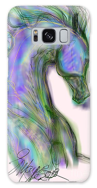 Blue Horse Painting Galaxy Case