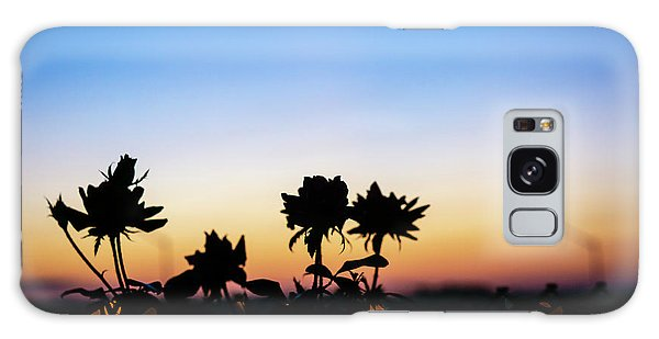 Blue Hour Sunset With Flowers Galaxy Case