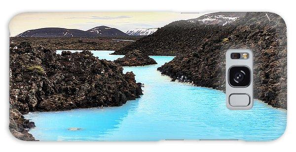 Bath Galaxy Case - Blue Lagoon Waters In The Lava Field by Dennis Van De Water