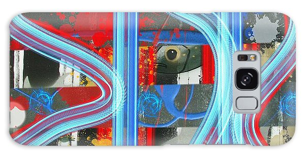 Blue Meet Red Black And White Fish Galaxy Case