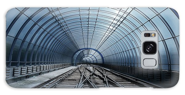 Technology Galaxy Case - Blue Metro Tube Tunnel by Valentina Petrov