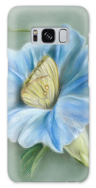 Blue Morning Glory With Yellow Butterfly Galaxy Case