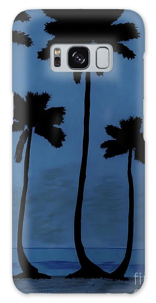 Blue - Night - Beach Galaxy Case