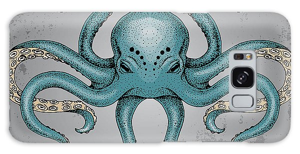 Imagery Galaxy Case - Blue Octopus With Grunge Background In by Maria Sem