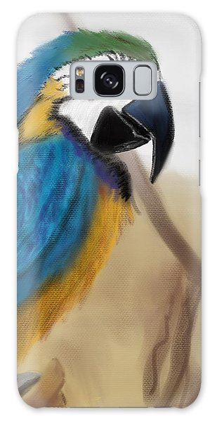 Galaxy Case featuring the digital art Blue Parrot by Fe Jones
