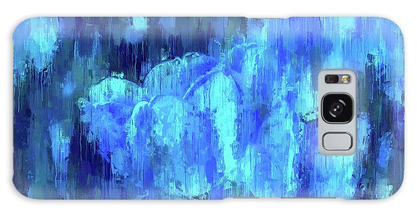 Blue Tulips On A Rainy Day Galaxy Case