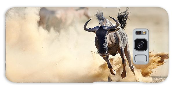 Horizontal Galaxy Case - Blue Wildebeest Running On Dusty Plains by Mari Swanepoel