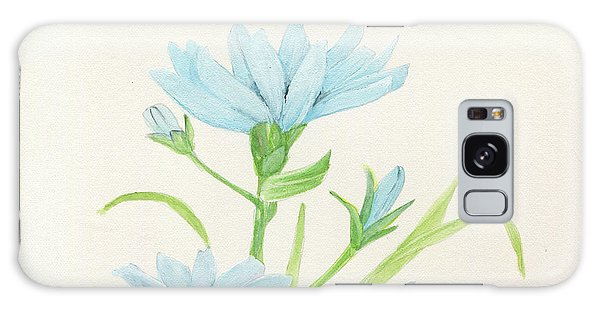 Blue Wildflowers Watercolor Galaxy Case