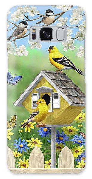 Eastern Bluebird Galaxy Case - Bluebirds Goldfinches Chickadees Birdhouses Spring Flower Garden by Crista Forest