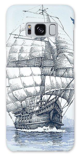 Board Galaxy Case - Boat On Sea Drawing. Sailboat Vector by Danussa