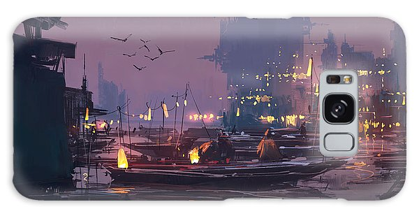 Reflections Galaxy Case - Boats In Harbor Of Futuristic by Tithi Luadthong