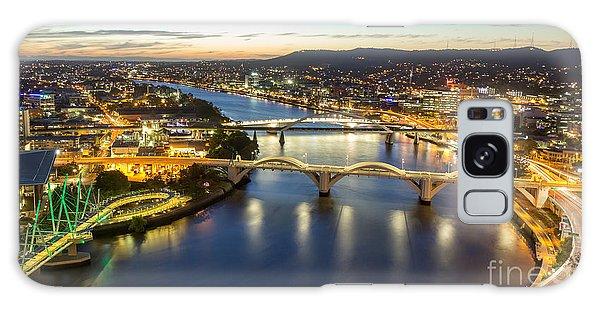 Australia Galaxy Case - Brisbane City, Panorama Aerial Sunset by Gnoparus