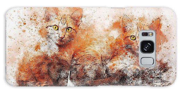 Watercolor Pet Portraits Galaxy Case - Brothers Cat by ArtMarketJapan