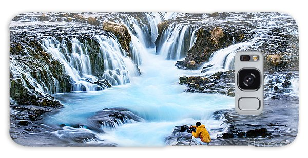 Horizontal Galaxy Case - Bruarfoss,iceland With The Photographer by Cusycon
