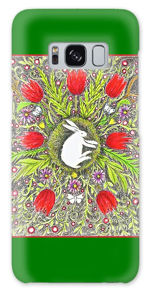 Bunny Nest With Red Flowers And White Butterflies Galaxy Case