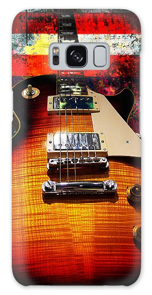 Galaxy Case featuring the digital art Burst Guitar American Flag Background by Guitar Wacky