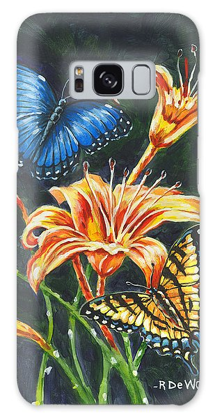 Butterflies And Flowers Sketch Galaxy Case