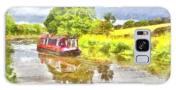 Canal Boat On The Leeds To Liverpool Canal Galaxy Case