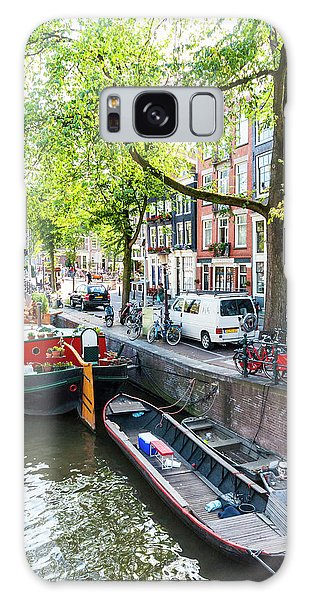 Canal Boats In Amsterdam Galaxy Case