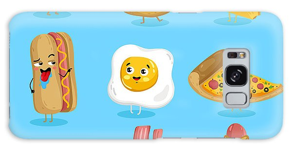 Eggs Galaxy Case - Cartoon Funny Fast Foods Characters by Studioworkstock