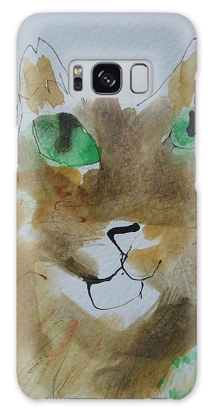 Cat Face Yellow Brown With Green Eyes Galaxy Case