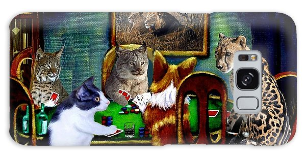Calico Cat Galaxy Case - Cats Are Wild Poker by Ron Chambers