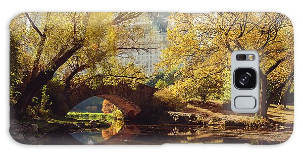 New Leaf Galaxy Case - Central Park Pond And Bridge. New York by Maglara