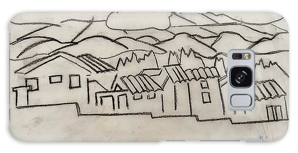 Charcoal Houses Sketch Galaxy Case