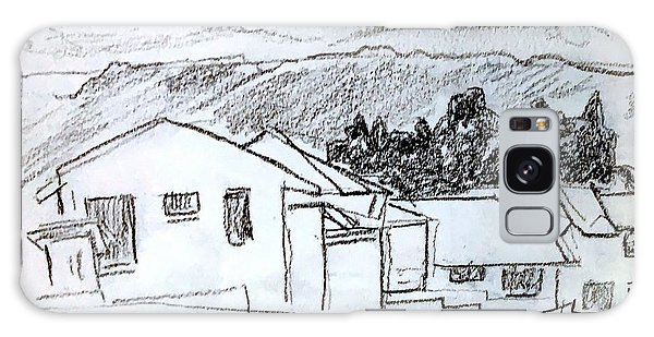 Charcoal Pencil Houses.jpg Galaxy Case