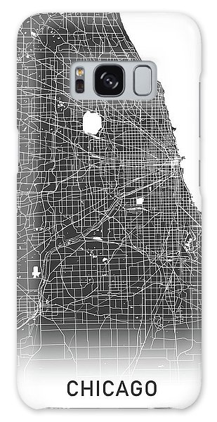 Usa Map Galaxy Case - Chicago Map Black And White by Delphimages Photo Creations
