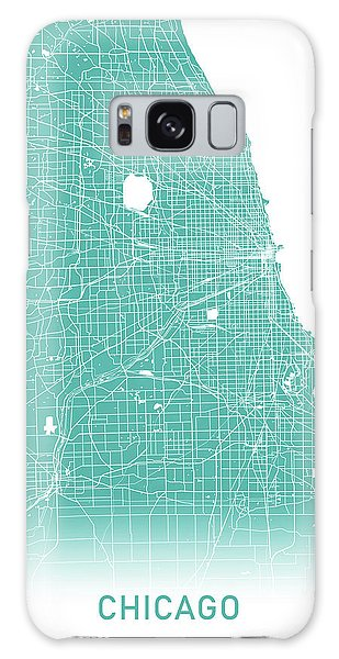 Chicago Art Galaxy Case - Chicago Map Teal by Delphimages Photo Creations