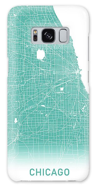 Usa Map Galaxy Case - Chicago Map Teal by Delphimages Photo Creations
