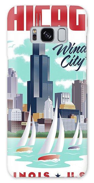 Art Deco Galaxy S8 Case - Chicago Poster - Vintage Travel by Jim Zahniser