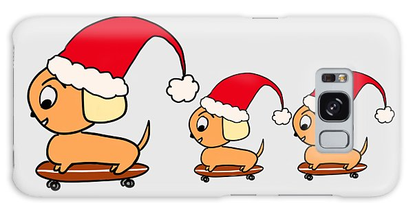 Christmas Dogs On Skateboards Galaxy Case