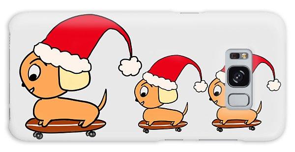 Christmas Dogs On Skateboards Galaxy Case