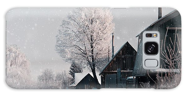 Cottage Galaxy Case - Christmas Landscape In Winter Village by Katty1489